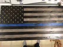 Blue Line custom wood flag with bullet casings in Tinley Park, Illinois