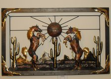 Southwestern Wall Art - Horses and Sunrise in Fort Meade, Maryland