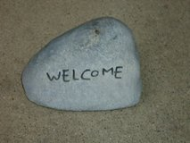 "fake rock ""welcome"" in Bolingbrook, Illinois"