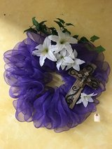Spring Wreath With Wood/Metal Cross in Elizabethtown, Kentucky
