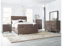 NEW! UPSCALE/LUX SOLID HEAVY WOOD QUEEN BED SET BY M. INTERNATIONAL in Camp Pendleton, California