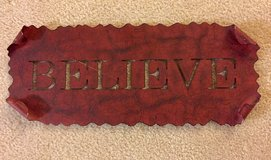 "Metal Wall Art ""BELIEVE"" RED in Tinley Park, Illinois"