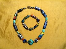 Venetian glass bead necklace and bracelet with sterling silver beads and clasp in Yucca Valley, California