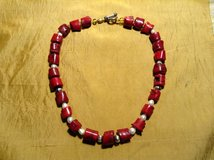 Red Coral Necklace with genuine freshwater pearls and sterling silver beads in Yucca Valley, California