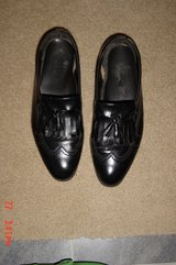 Men's Black Leather Tassel Wing Tip Loafers Size 10.5M in Lockport, Illinois