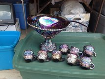 Indiana Iridescent Blue Carnival Glass Punch bowl set in Byron, Georgia