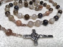 Rosary Botswana Agate Beads Earth Tones Fabulous Colors Italian Silver Middle Medal and Crucifix... in Kingwood, Texas