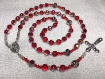 Rosary Ruby Red Jade Fire Polished with AB Finish Czech Spacers Italian Silver Our Lady of Guada... in Kingwood, Texas