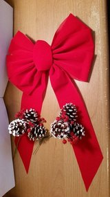 "Large 10"" Red Velvet like Bow & 2 Pine cone Decorative Picks.  Ideal to add to Wreaths in Warner Robins, Georgia"