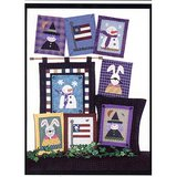 BUNNY FLAG WITCH SNOWMAN Patterns: APPLIQUE or CROSS STITCH Pillow or Wall Decor in Glendale Heights, Illinois