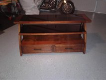 REDUCED!!!!!!!!!!!!Wood & Glass TV Stand with two bottom drawers in Fort Drum, New York