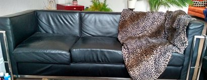 Black leather and chrome couch/loveseat/chair set in Brookfield, Wisconsin