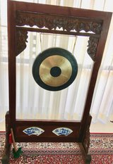 Gong and Stand w/Ceramic Tiles & Intricate wood designs in Okinawa, Japan