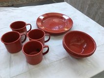 Red Spotted Enameled Metal Dish Set in Ramstein, Germany