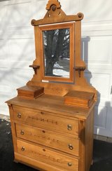 Vintage Primitive Ash dresser w/mirror and side drawers in Naperville, Illinois