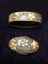 "Edo Period Cherry Blossom ""Sakura""  fuchi / kashira set for katana or O-Wakizashi Mumei /unsigned in Okinawa, Japan"