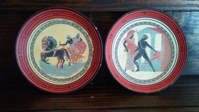 2 vintage terracotta plates handmade in Greece in Cleveland, Texas
