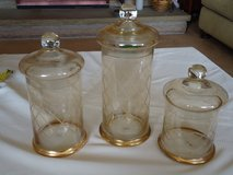 vintage etched apothecary jars in Naperville, Illinois