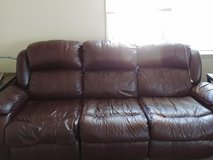 Brown leather reclining couch in Indianapolis, Indiana
