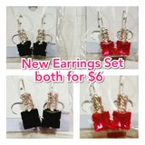 2 New Earrings Sets black and pink/red in Baytown, Texas
