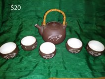 Brown horse teapot and cups in Yucca Valley, California