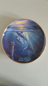 "Porcelain Dolphon Plates 8"" Designed by Dennis Delmary (12 Plates) in Yucca Valley, California"