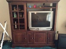 Solid  wood entertainment center with free JVC TV in Leesville, Louisiana