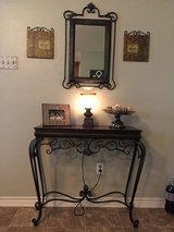 Wood and Iron accent table and matching Mirror in Cleveland, Texas