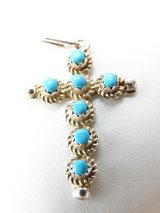 Sterling Silver & Turquoise Navajo Cross Pendant in League City, Texas