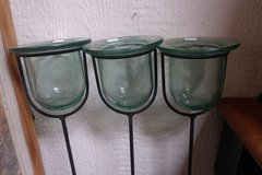 Vintage Green Glass Planters with Metal Stakes in Alamogordo, New Mexico
