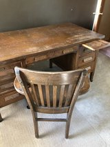 School desk and chair from Grundy County in Oswego, Illinois