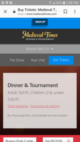4 general admission Medieval Times tournament and dinner in 29 Palms, California