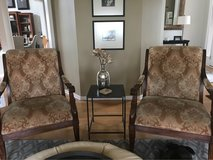 creme and gold upholstered wooden armchairs in Oswego, Illinois