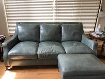 Two teal blue leather couches, each 78 inches in Naperville, Illinois