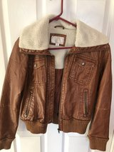 Faux Leather and shearling bomber jacket in Algonquin, Illinois
