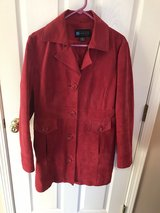 Red suede thigh length jacket in Algonquin, Illinois