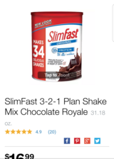 Slimfast original choc powder in Glendale Heights, Illinois