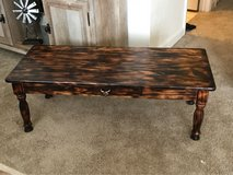 Fire stained coffee table in Fort Riley, Kansas
