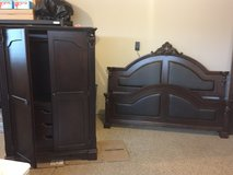 Bedroom Set - King Bed and Armoire in Naperville, Illinois