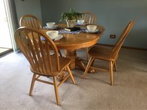 Solid Oak Dining table and 4 chairs in Elgin, Illinois