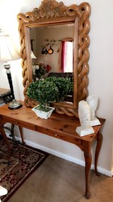 all wood entryway / sofa table. $ 95. mirror $120 in Naperville, Illinois