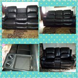New Black Leather Reclining Sofa and Loveseat in Conroe, Texas