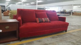 Red high back couch in Camp Lejeune, North Carolina
