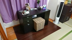 Dark wood desk for students or office in Okinawa, Japan