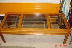 1 oak and glass coffee table and 1 matching end table in Bolingbrook, Illinois