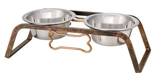 Loving Pets Black Label Collection Rustic Bone Diner for Dogs, Aged Copper in Chicago, Illinois