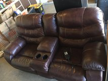 Leather reclining sofa (electric) in Fort Irwin, California