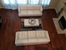 100% white leather sofas and bench with wooden legs in The Woodlands, Texas