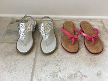 2 Pairs of Girls (Teen) Brand Name Sandals Size 5 (Pink and Silver) in Chicago, Illinois