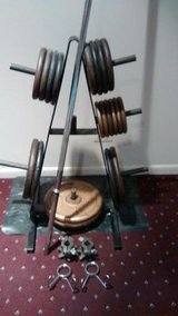 Weider Barbell, Plates(270LBS), Collars And Pro Storage Rack in Aurora, Illinois